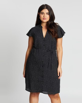 Atmos & Here Atmos&Here Curvy - Women's Black Mini Dresses - Elisa Spot Dress - Size 18 at The Iconic
