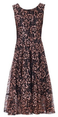 Dorothy Perkins Womens *Jolie Moi Black Floral Print Lace Flare Hem Midi Dress, Black