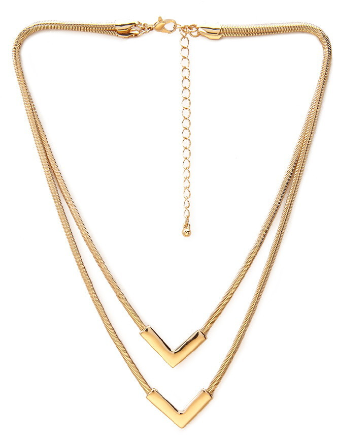 Forever 21 Layered V-Pendant Necklace