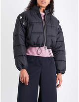 3.1 Phillip Lim Ladies Black Exposed Zip Detachable-Sleeve Quilted Shell Puffer Jacket