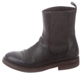 Brunello Cucinelli Leather Semi Point-Toe Ankle Boots