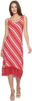 Women's Nina Leonard Striped Crochet High-Low Midi Dress