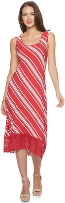 Nina Leonard Women's Striped Crochet High-Low Midi Dress