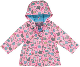 Skechers Girls' Rain Coats PINK - Pink Kitty Print Hooded Raincoat - Infant, Toddler & Girls