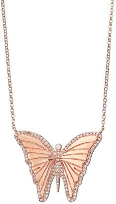 Nina Gilin 14K Rose Gold & Diamond Butterfly Pendant Necklace