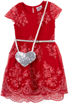 Beautees Red Lace Belted Dress & Silver Sequin Heart Crossbody Bag - Girls