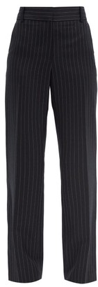 Victoria Beckham High-rise Pinstriped Wool Trousers - Navy Multi