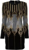 Balmain studded baroque mini dress - women - Cotton/Spandex/Elastane/metal/glass - 36