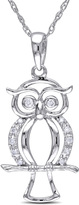 Julie Leah 10K White Gold Owl Pendant Necklace with Diamond Accents