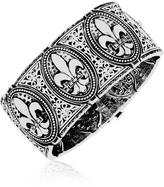 Ice Sterling Silver Fleur de Lys Thick Bangle with Diamonds