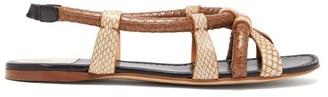 Francesco Russo Snake-effect Leather Sandals - Womens - Beige Multi