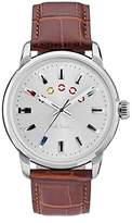 Paul Smith Men's Quartz Watch with Silver Dial Analogue Display and Brown Leather Strap P10022