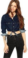 NiSeng Junior's Long Sleeve Fitted Front Tie Crop Top Denim Chambray Shirt Blouse M