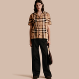 Burberry Short-sleeved Check Cotton Pyjama-style Shirt, Brown