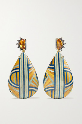 Silvia Furmanovich Marquetry 18-karat Gold, Wood, Diamond And Citrine Earrings