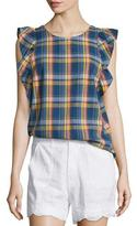 MiH Jeans Caval Butterfly-Sleeve Plaid Top, Plaid