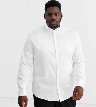 Asos Design DESIGN Plus regular fit textured shirt with collar bar in white