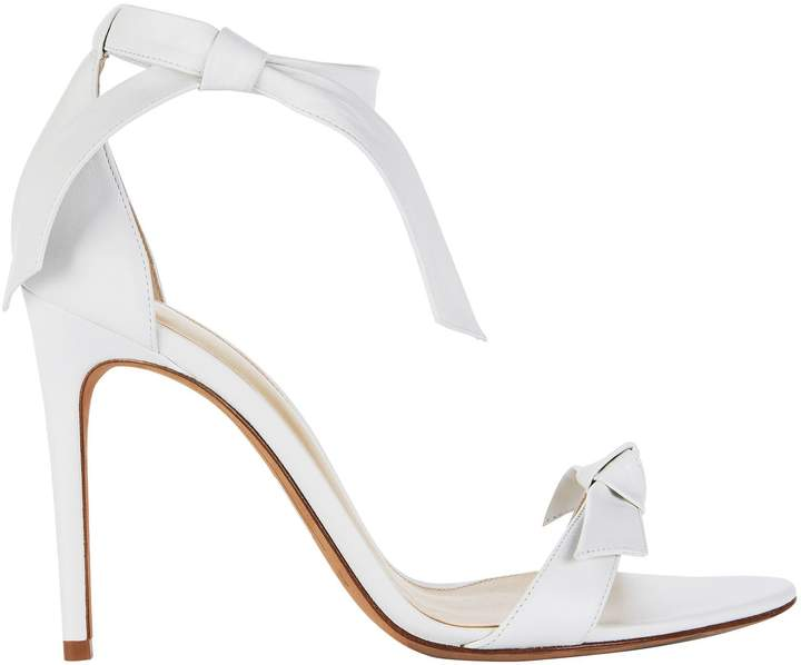 Alexandre Birman Clarita Double Bow White Leather Sandals