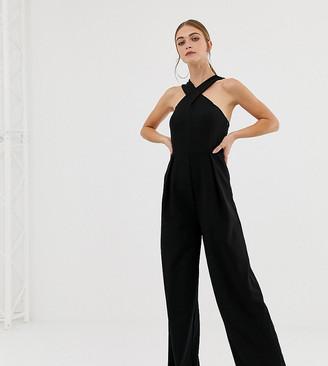 NA-KD wide leg cross neck jumpsuit in black