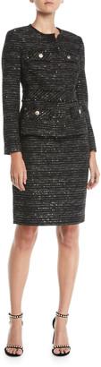 Albert Nipon Tweed Two-Piece Jacket & Skirt Suit Set