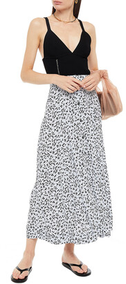 Ganni Checked Crepe Midi Skirt