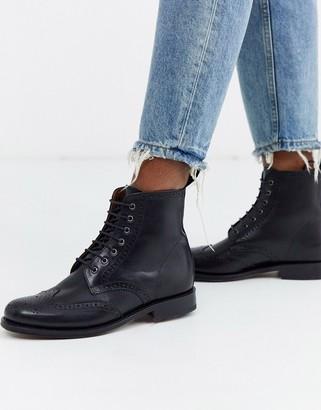 Grenson Ella leather brogue ankle boot-Black