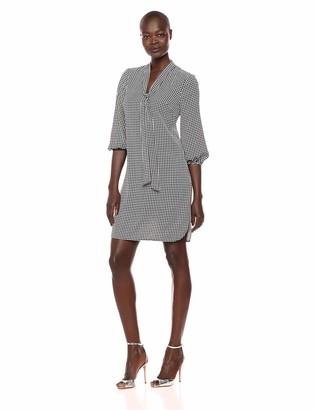 Adrianna Papell Women's Long Sleeve Pebble Stretch Chiffon Sheath Dress Black/Ivory 12