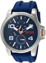 HUGO BOSS BOSS Orange Men's 'DETROIT SPORT' Quartz Stainless Steel and Silicone Casual Watch, Color:Blue (Model: 1550008)