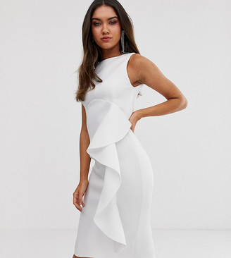 True Violet side frill midi bodycon dress in ivory