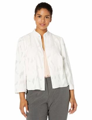 Kasper Women's Plus Size Stand Collar Floral Burnout Jacket