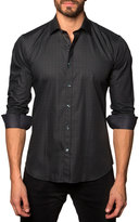 Jared Lang Grid-Print Sport Shirt, Gray