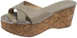 Jimmy Choo Grey Leather Prima Cork Wedge Slides Size 37.5