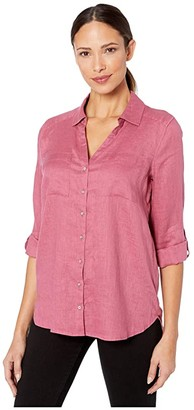 Vince Camuto Long Sleeve Roll Tab Two-Pocket Button-Down Linen Blouse (Ultra White) Women's Clothing