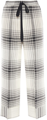 Roland Mouret Checked Wool-crepe Straight-leg Pants