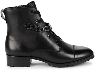 Karl Lagerfeld Paris Suki Chain-Trim Leather Combat Boots