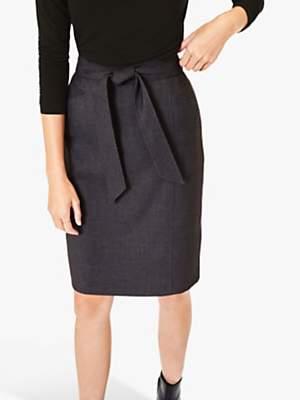 Oasis Tailored Tie Belt Skirt, Mid Grey