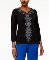 Alfred Dunner High Roller Embellished V-Neck Sweater