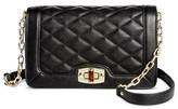 Women's Faux Leather Quilted Crossbody Handbag with Turn Lock Closure and Chain Strap - Merona