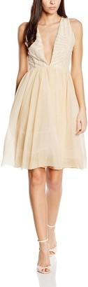 John Zack Women's Sequin Prom Pleated Sleeveless Dress