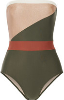 Adriana Degreas Paneled Bandeau Swimsuit - Army green