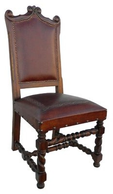 Astoria Grand Isabel Genuine Leather Upholstered Dining Chair (Set of 2