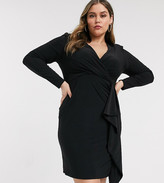 New Look Plus Curve long sleeve ruffle front dress in black