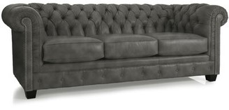 "Melany Genuine Leather Chesterfield 86"" Rolled Arm Sofa 17 Stories Upholstery Color: Distressed Gray"