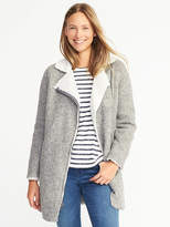 Old Navy Long Sherpa-Lined Moto Jacket for Women