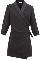 Frame Satin-lapel Crepe Wrap Dress - Womens - Black