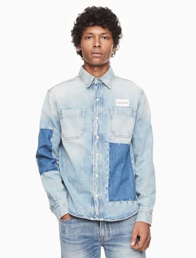 Calvin Klein patched denim utility shirt