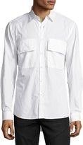 Public School Raw-Edge Button-Front Shirt, White