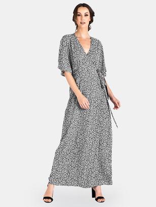Standards & Practices Olivia Leopard Kimono Wrap Maxi Dress