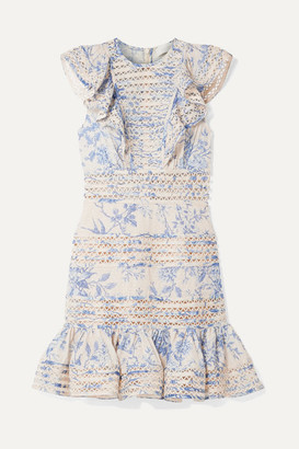 Zimmermann Verity Lace-trimmed Floral-print Fil Coupe Cotton Mini Dress - Blue