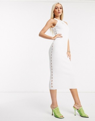 Asos DESIGN racer neck knitted midi dress with cut out detail